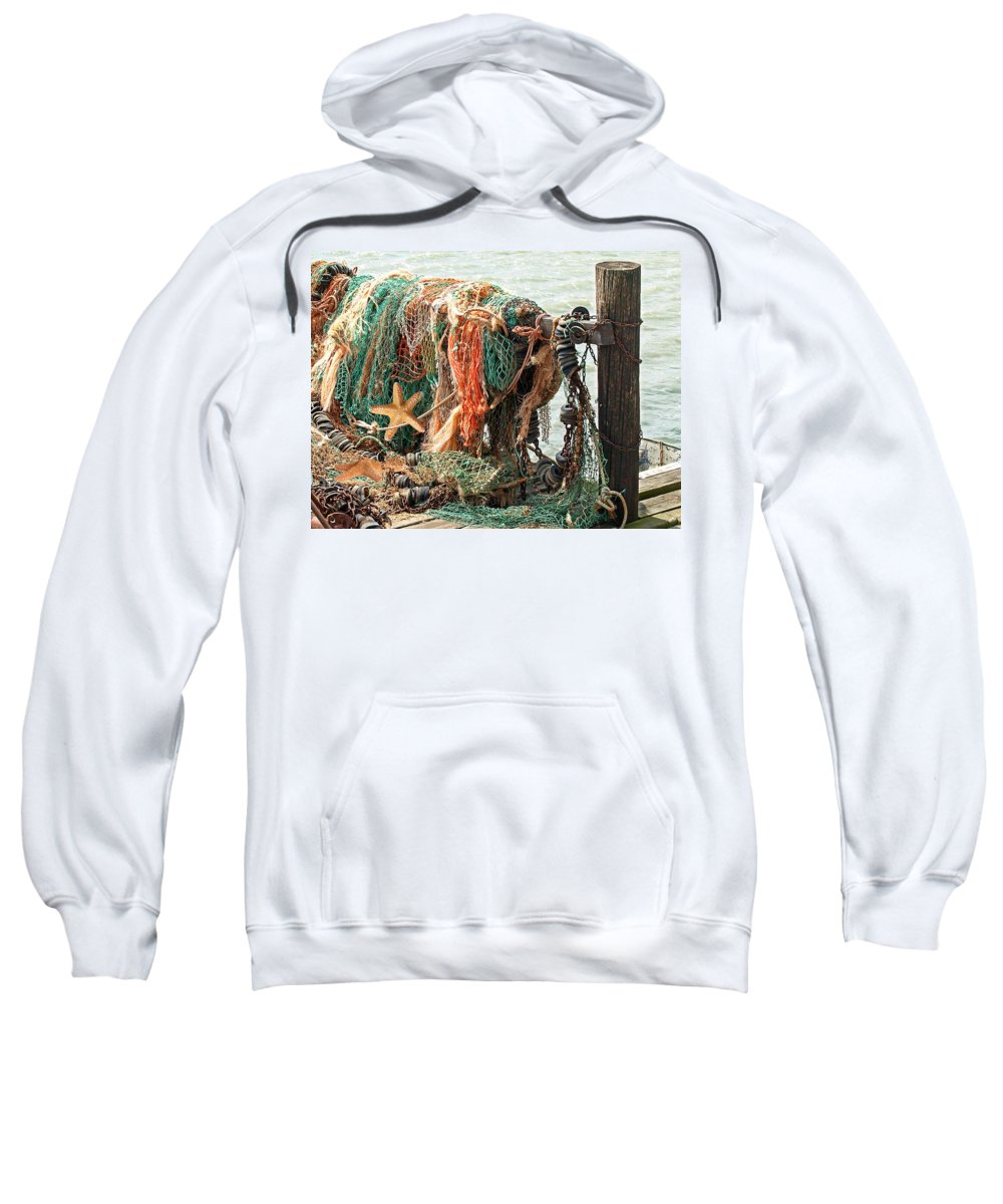 Fishing Net Sweatshirt featuring the photograph Colorful Catch - Starfish In Fishing Nets by Gill Billington