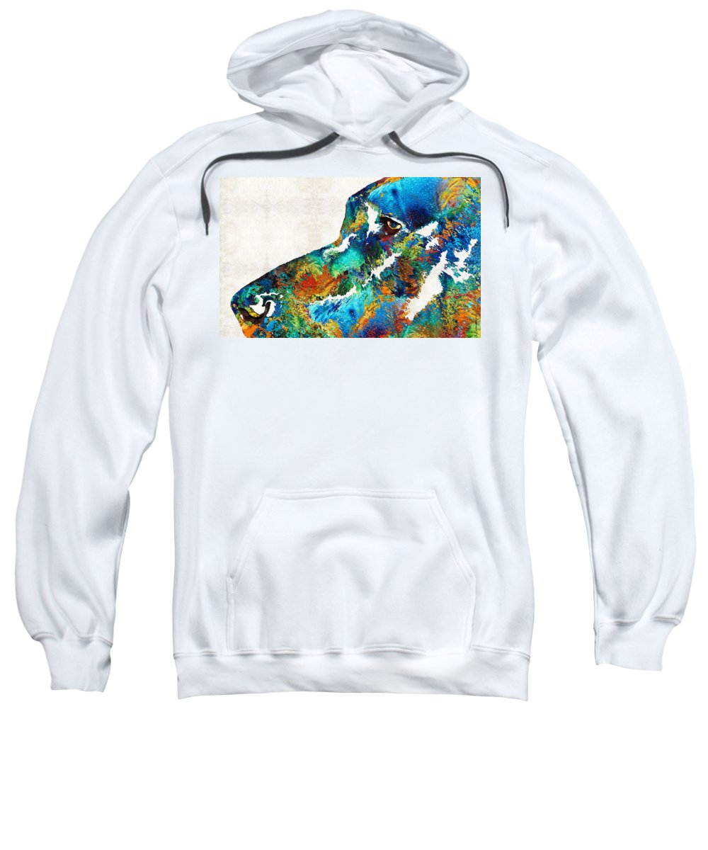 Dog Sweatshirt featuring the painting Colorful Dog Art - Loving Eyes - By Sharon Cummings by Sharon Cummings