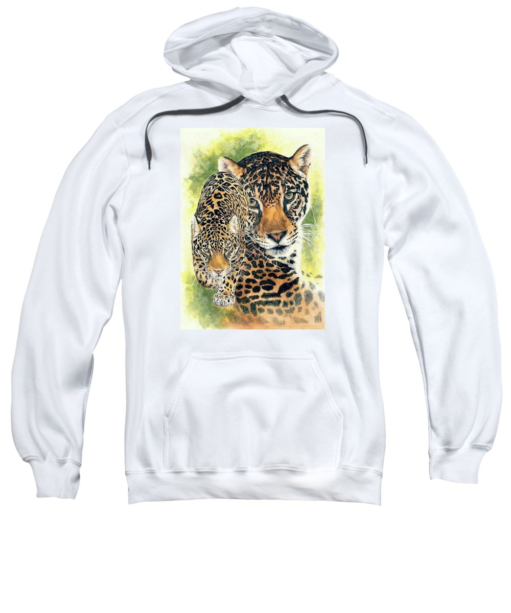 Jaguar Sweatshirt featuring the mixed media Compelling by Barbara Keith