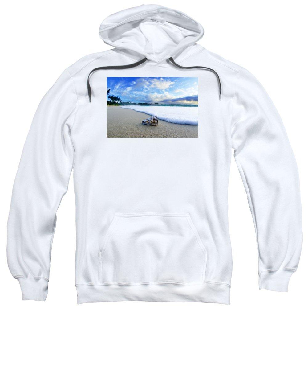 At The Beach Sweatshirt featuring the photograph Cone Foam by Sean Davey