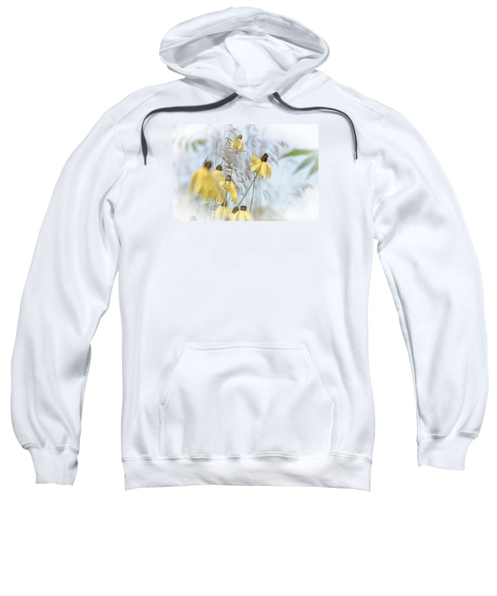 Coneflower Sweatshirt featuring the photograph Coneflower And Bee 1 by Susan McMenamin