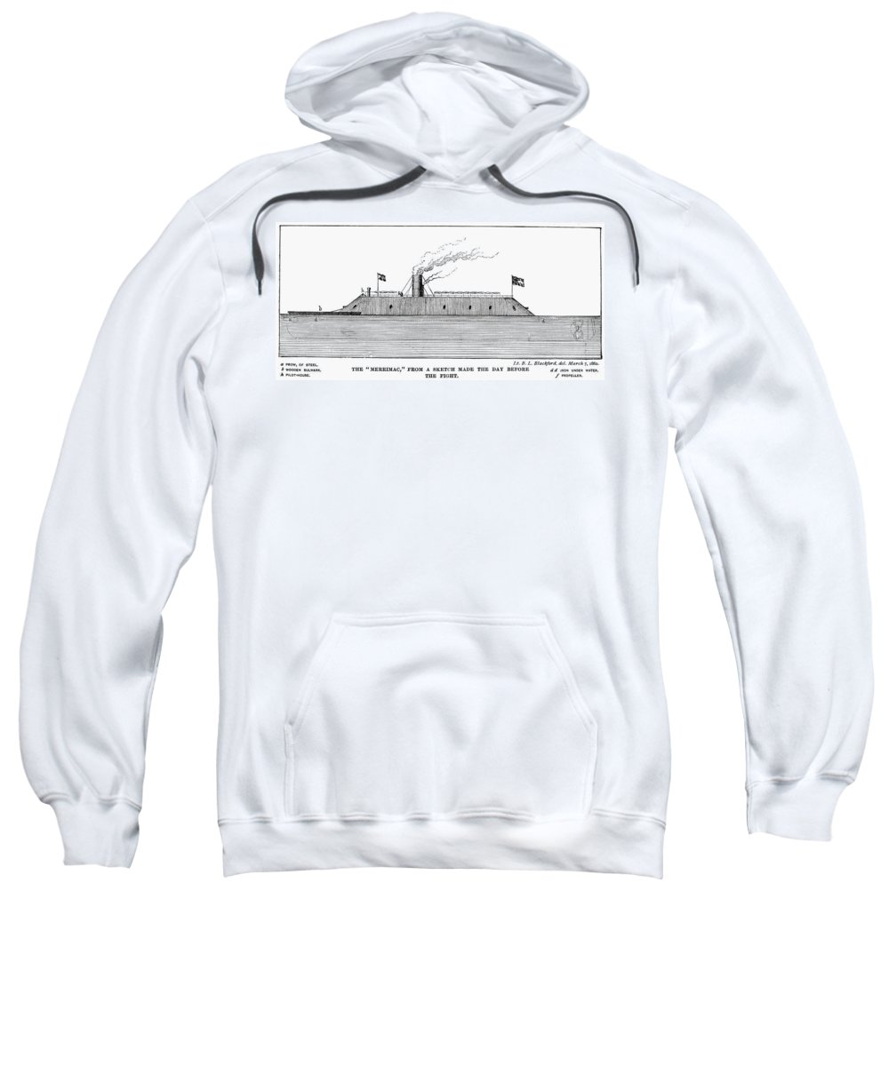 1860s Sweatshirt featuring the photograph Confederate Ironclad, 1862 by Granger