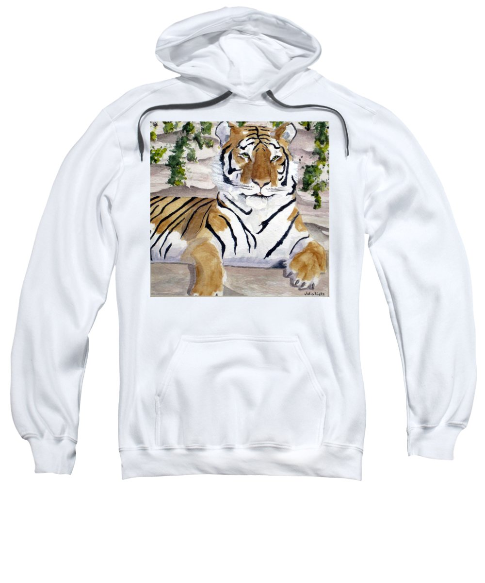 Tiger Sweatshirt featuring the painting Contemplating Dinner by Julia RIETZ