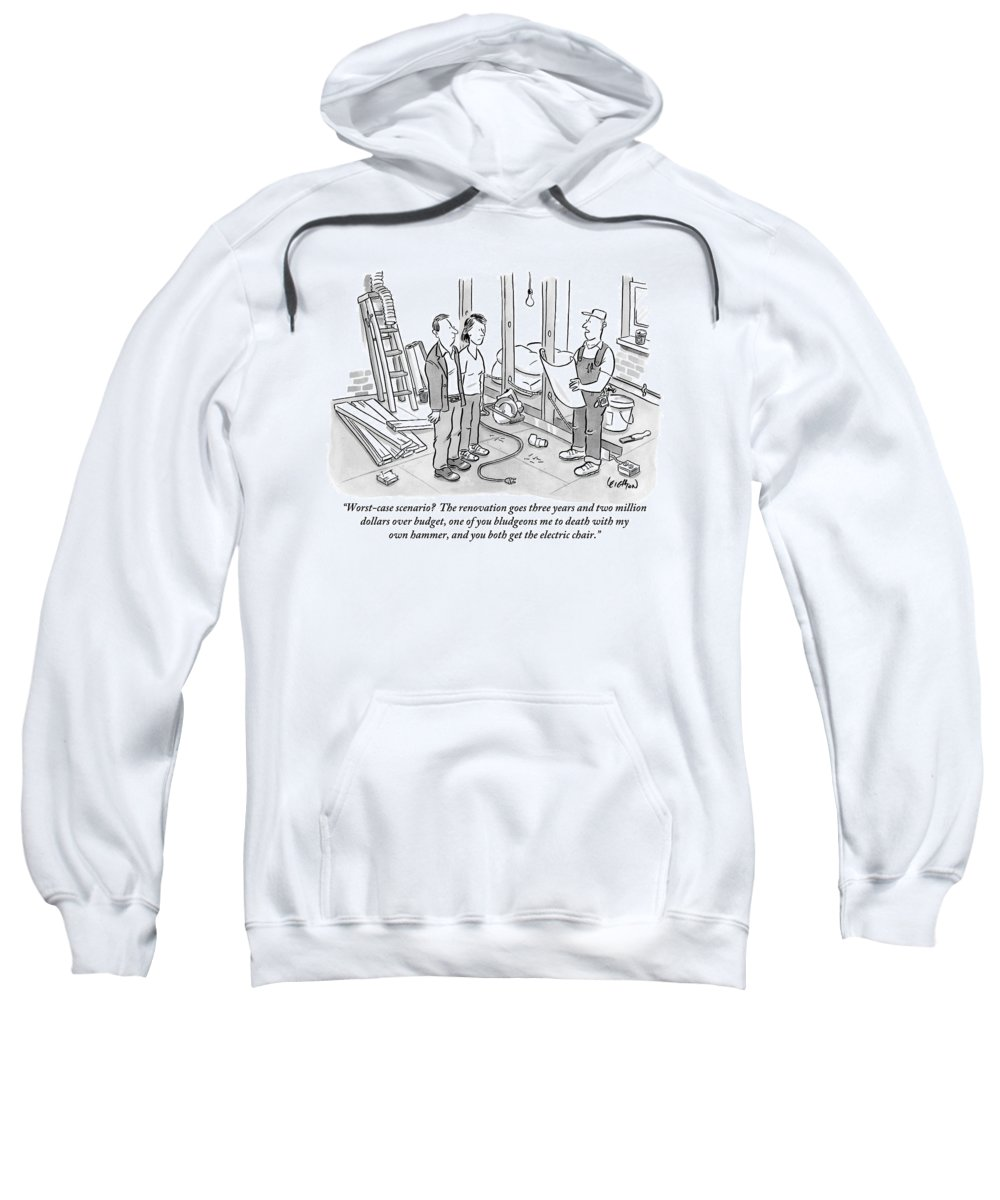 Renovation Sweatshirt featuring the drawing Contractor Examining A Blueprint And Speaking by Robert Leighton