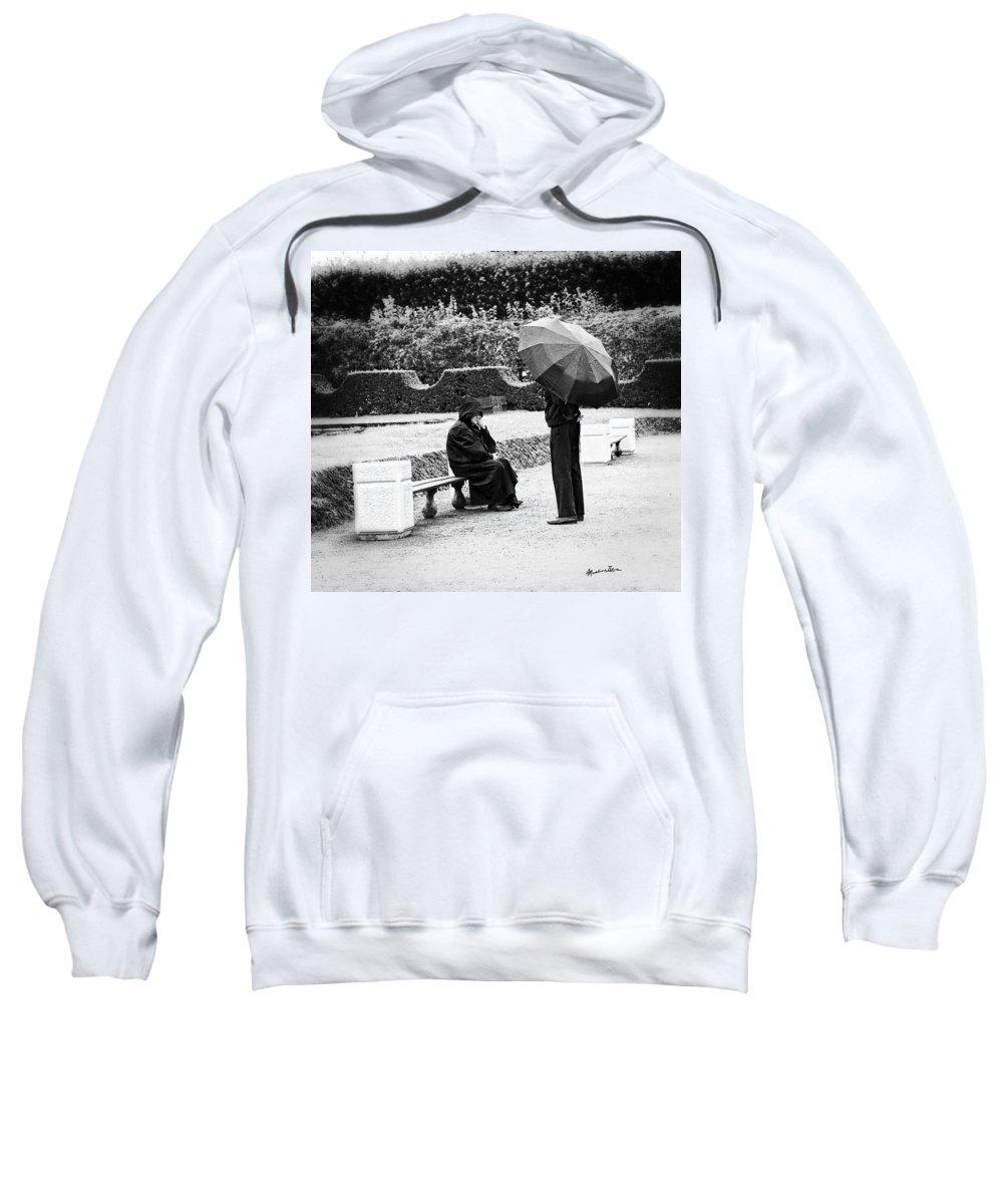 Men Sweatshirt featuring the photograph Conversation In The Rain by Madeline Ellis
