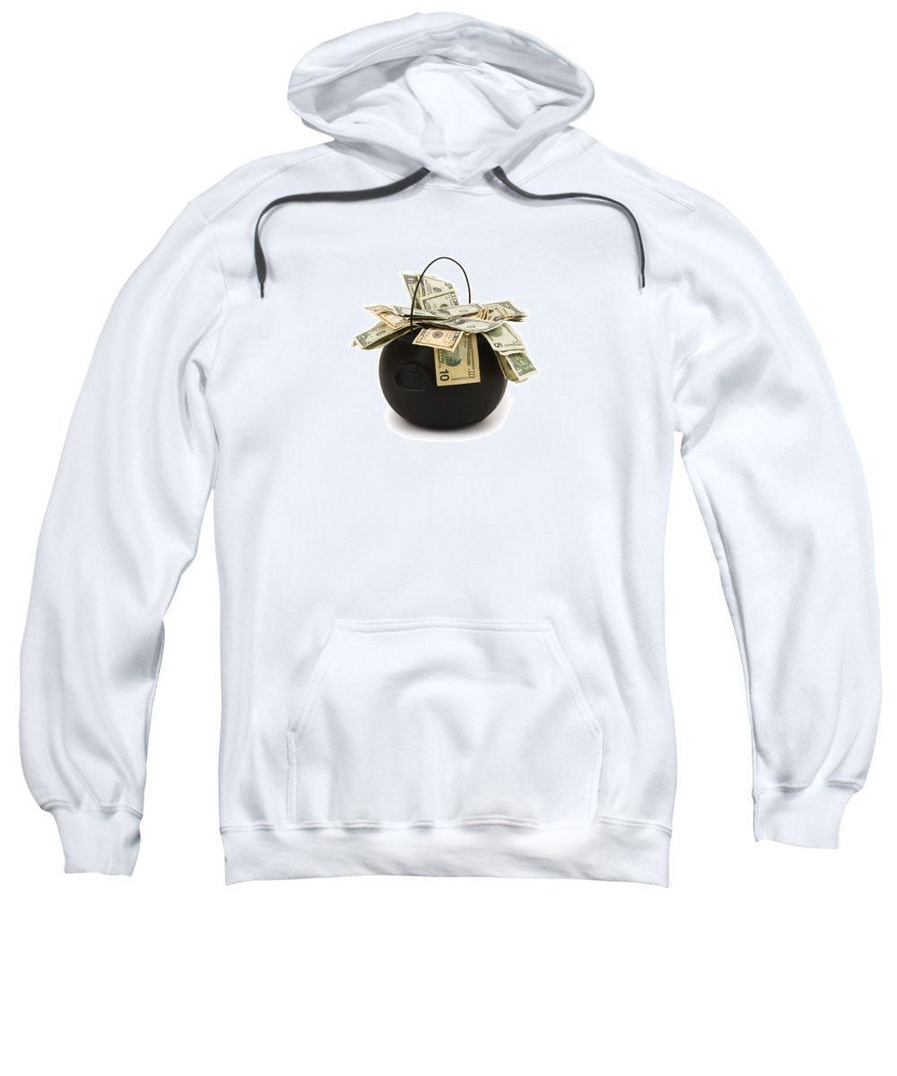 Ca One Dollar Bill Sweatshirt featuring the photograph cooking Pot full of Money White Background by Keith Webber Jr