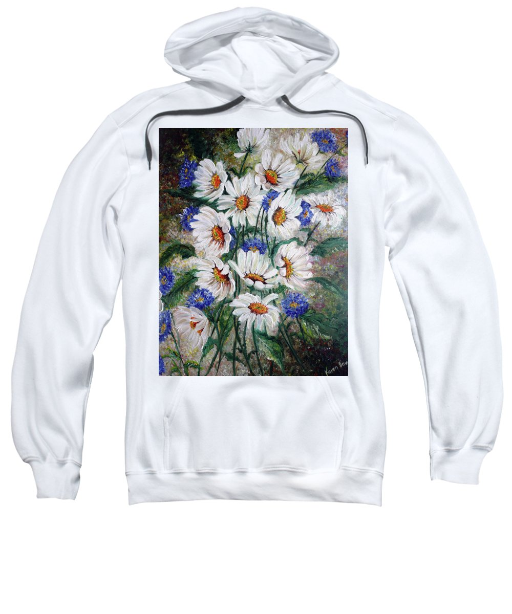 Gallery Wrapped Does Not Need A Frame Sweatshirt featuring the painting Corn Flowers by Karin Dawn Kelshall- Best