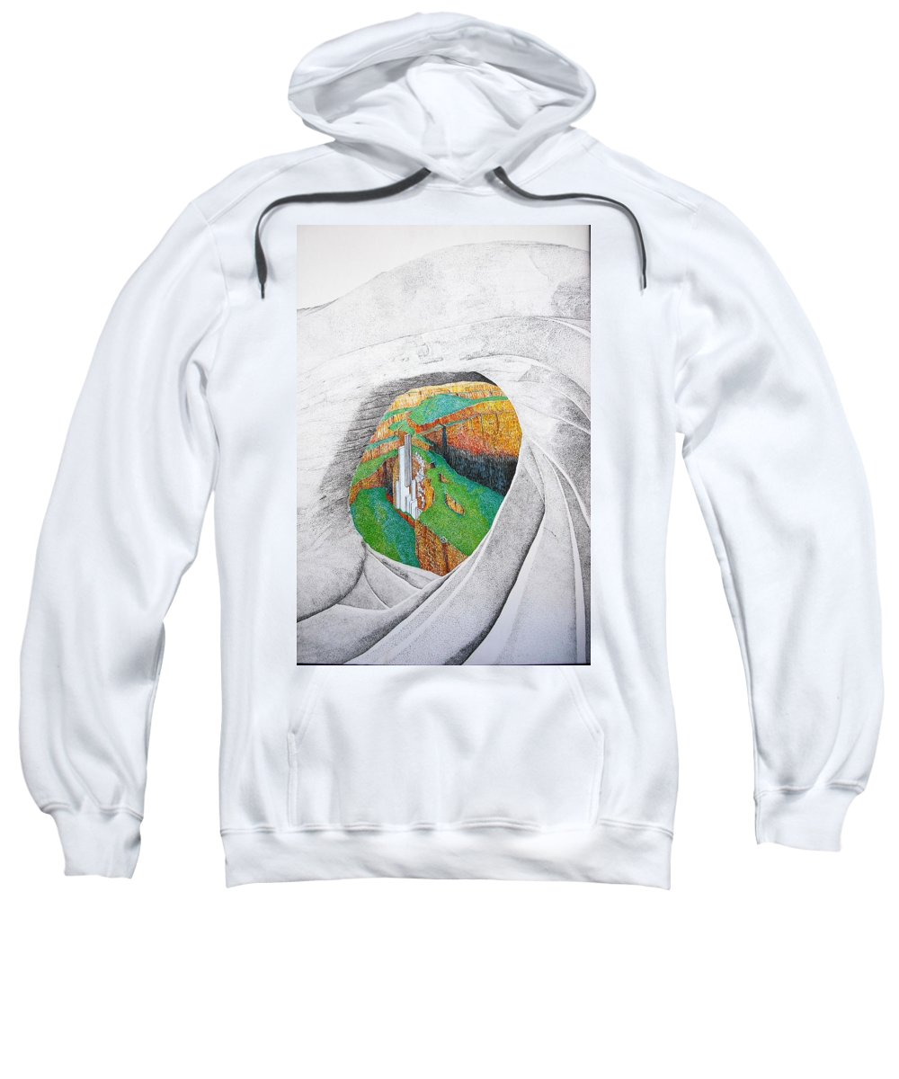 Rocks Sweatshirt featuring the painting Cornered Stones by A Robert Malcom