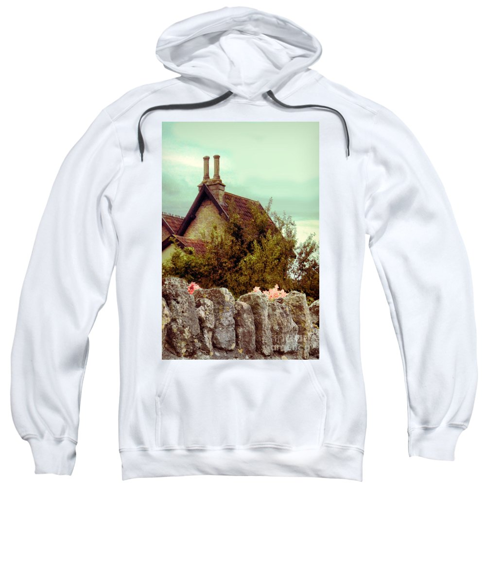 Wall Sweatshirt featuring the photograph Cottage Seen Over A Wall by Jill Battaglia