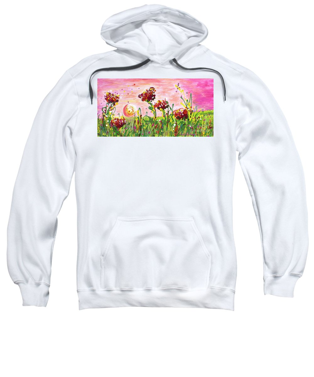 Poppies Sweatshirt featuring the painting Cotton Candy Flowers by Nadine Rippelmeyer