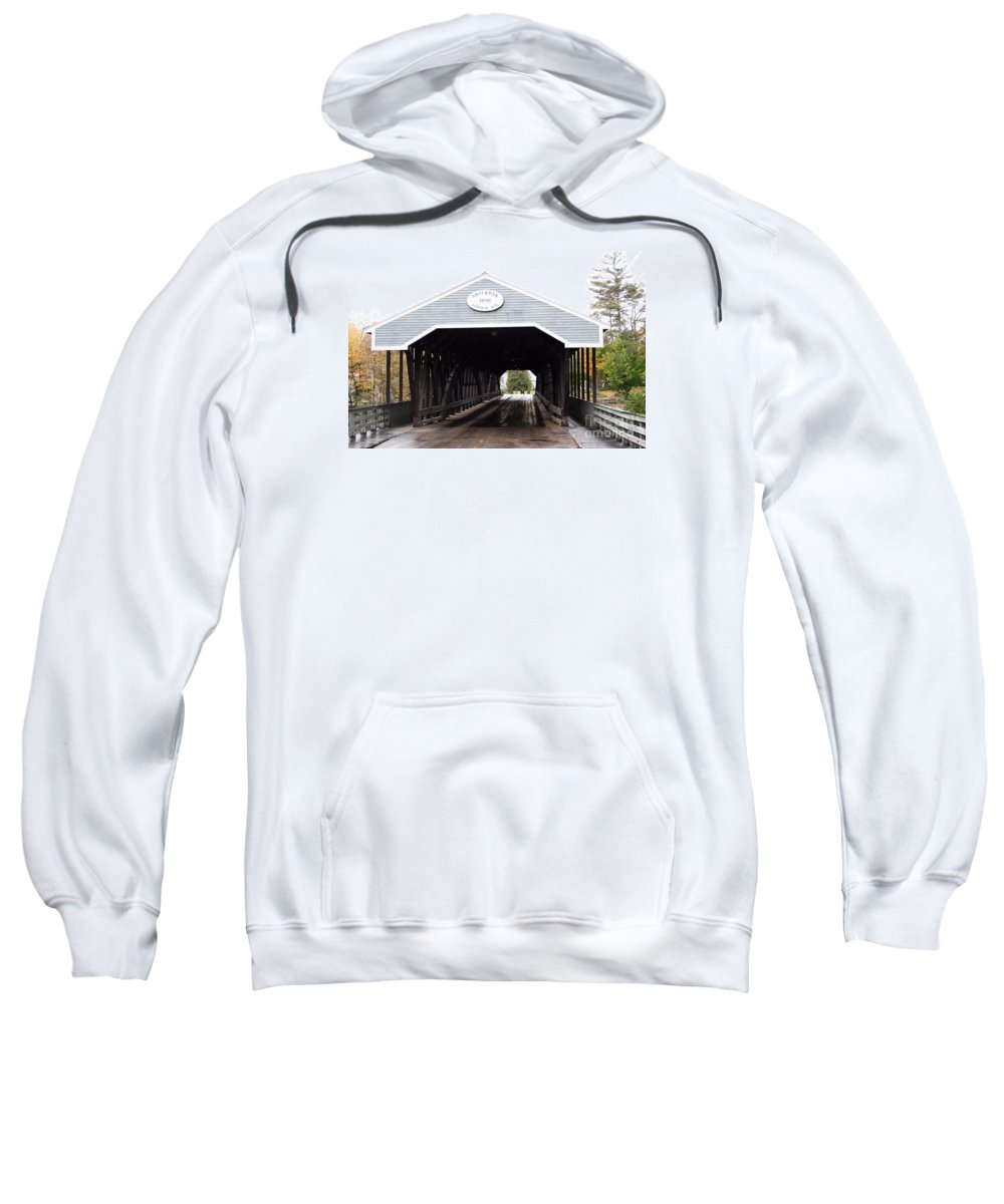 Covered Bridge Sweatshirt featuring the photograph Covered Bridge North Conway Sacco River by Christiane Schulze Art And Photography