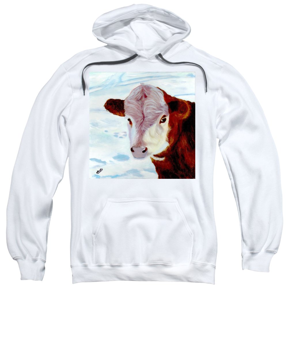 Cow Paintings Sweatshirt featuring the painting Cow A Bunga by Deborah Butts