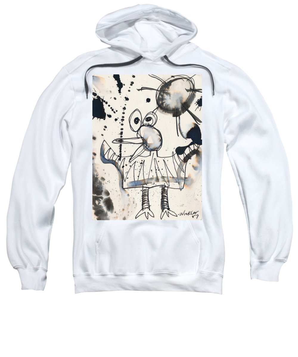 Bird Sweatshirt featuring the painting Crazy Bird by Christopher Winkler