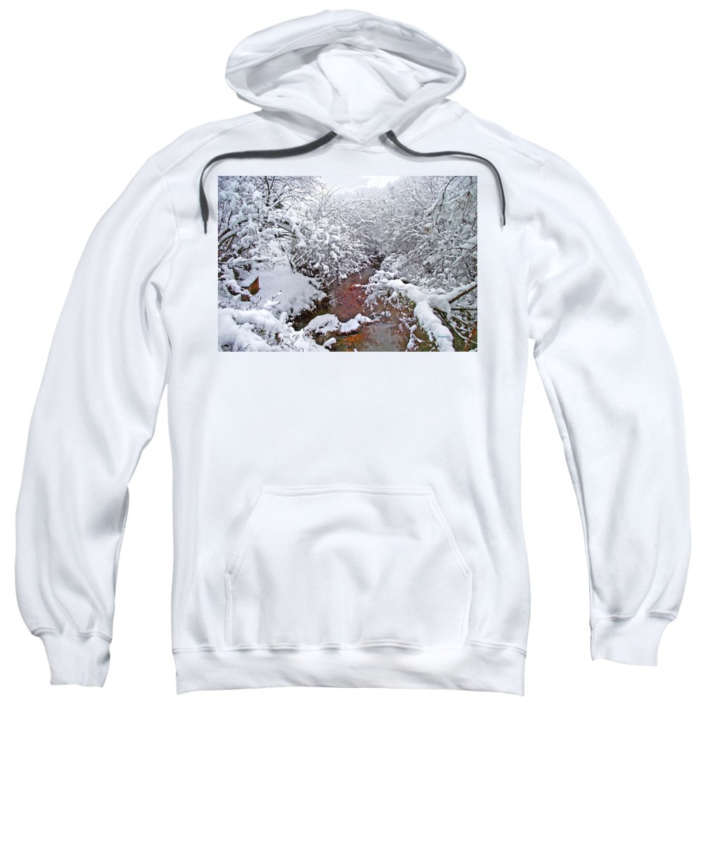 Landscapes Sweatshirt featuring the photograph Creekside In The Snow 3 by Duane McCullough