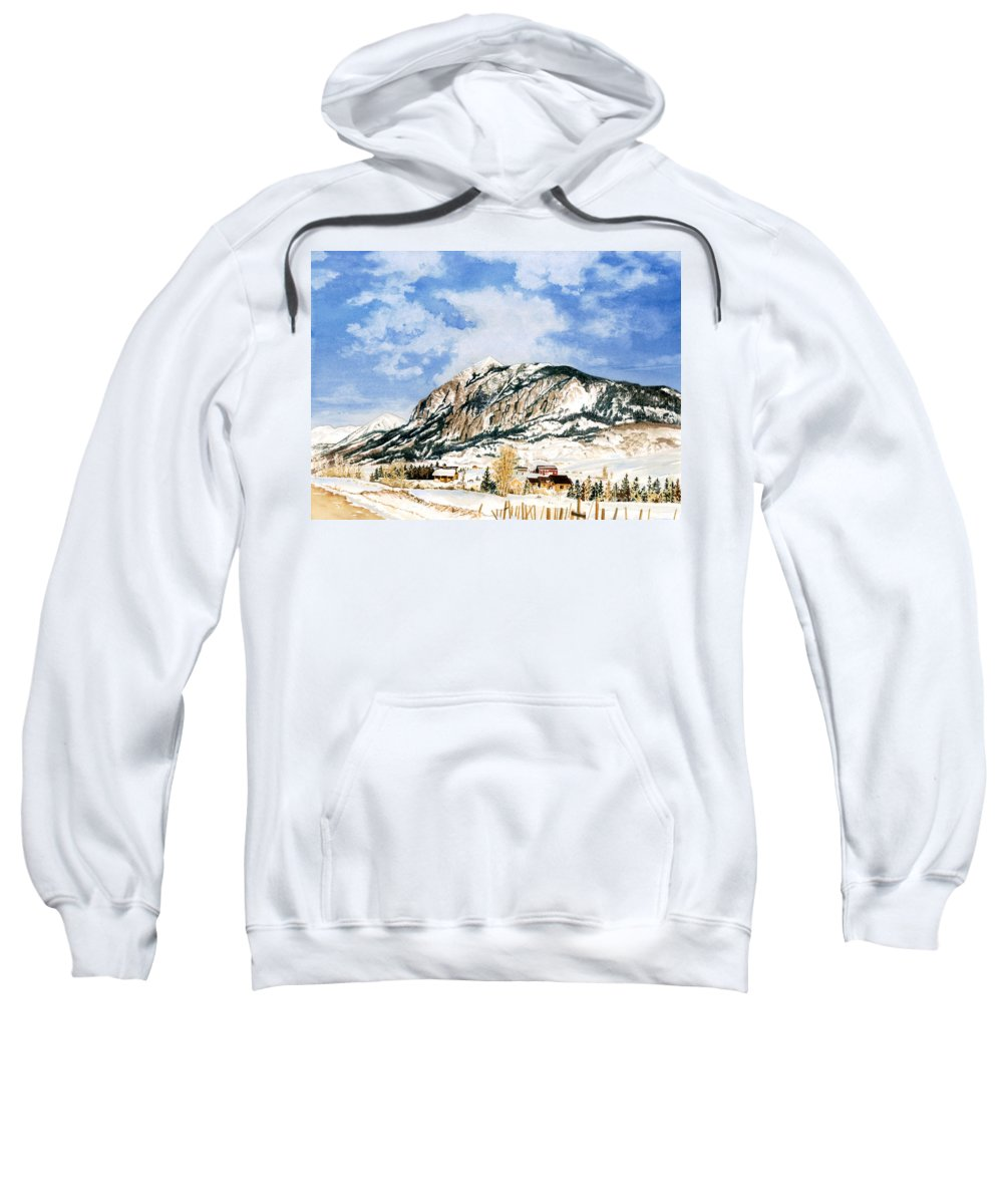 Water Color Paintings Sweatshirt featuring the painting Crested Butte Mountain by Barbara Jewell