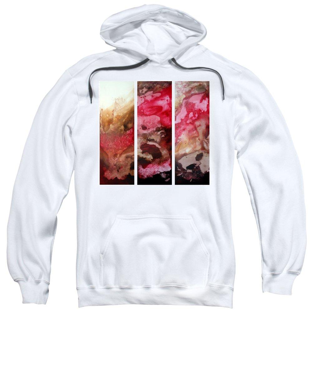Abstract Sweatshirt featuring the painting Crimson Cream Original Painting Madart by Megan Duncanson