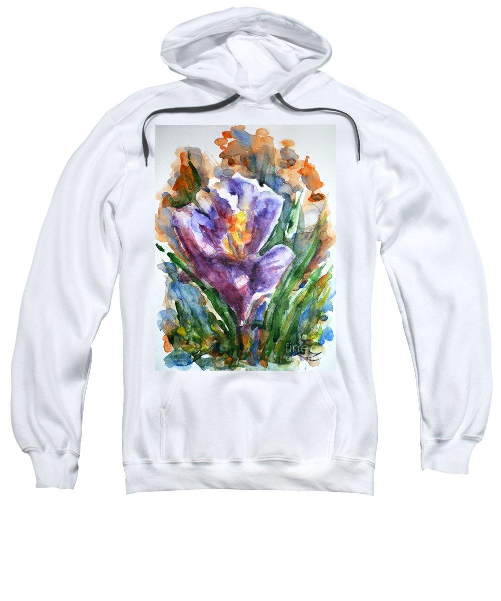 Crocus Sweatshirt featuring the painting Crocus by Zaira Dzhaubaeva