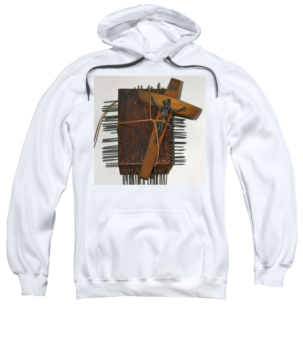 Abstract Modern Outsider Raw Cross Crucifix Jesus Wood Box Construction Brown Leather Nail Nails Sweatshirt featuring the relief Crucifix Box by Nancy Mauerman