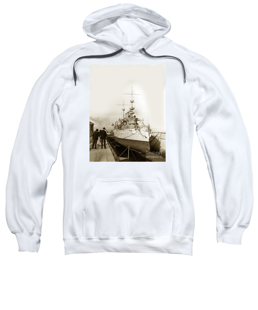 Cruiser Sweatshirt featuring the photograph Cruiser Uss New York Going Into Dry Dock San Francisco Circa 1903 by California Views Archives Mr Pat Hathaway Archives