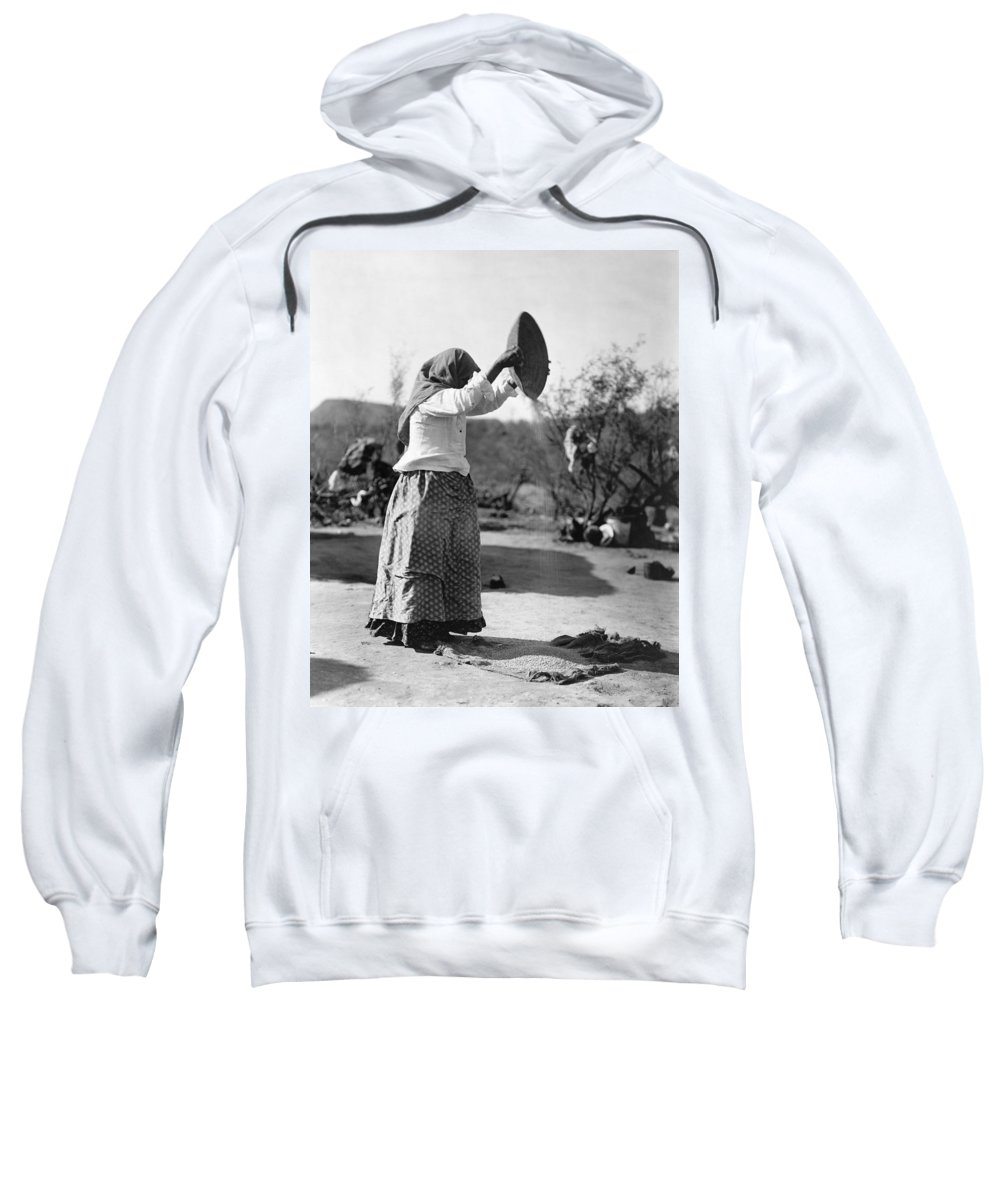 1907 Sweatshirt featuring the photograph Curtis Papago Woman, C1907 by Granger