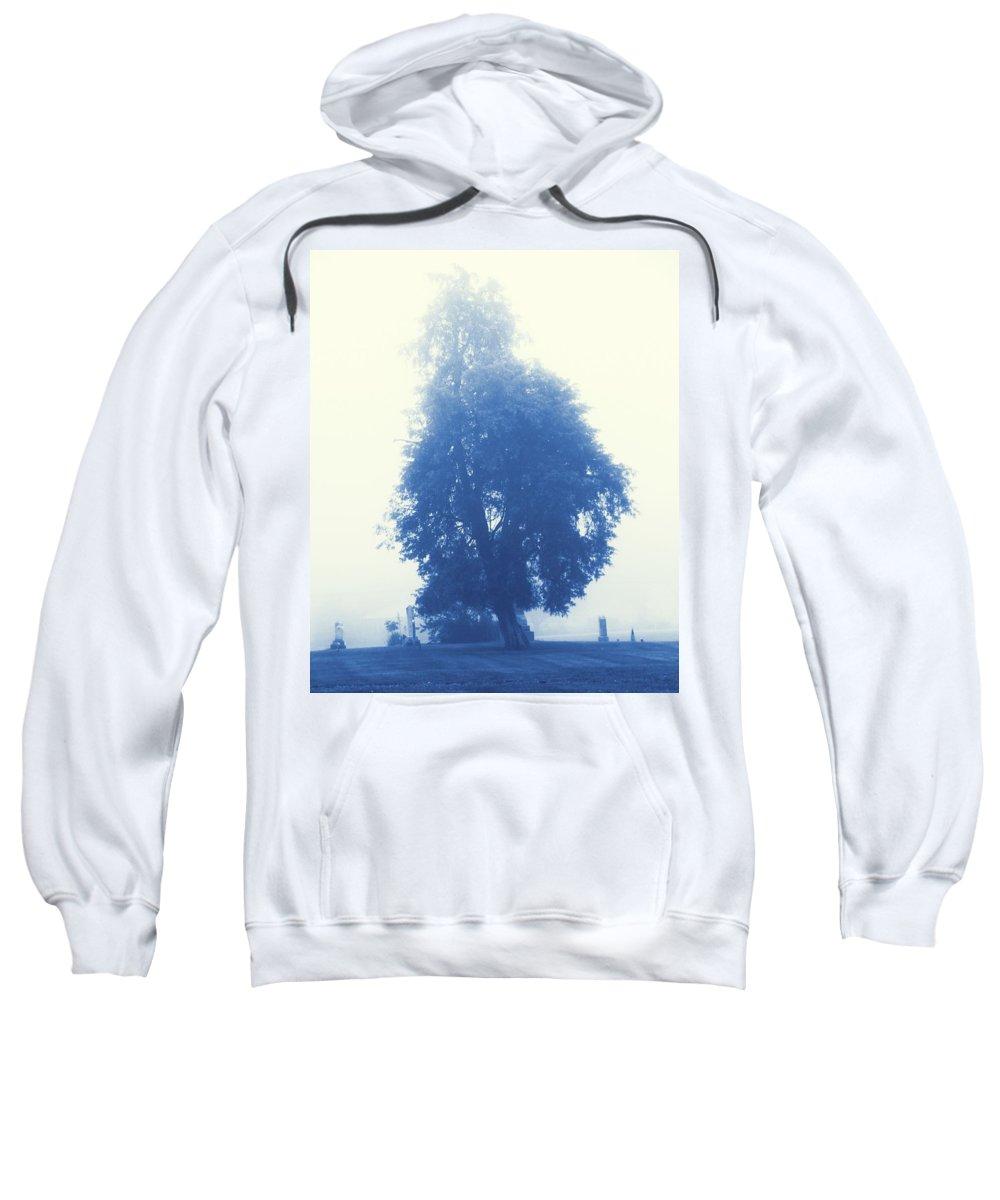 Cyanotype Cemetery Sweatshirt featuring the photograph Cyanotype Cemetery by Dan Sproul