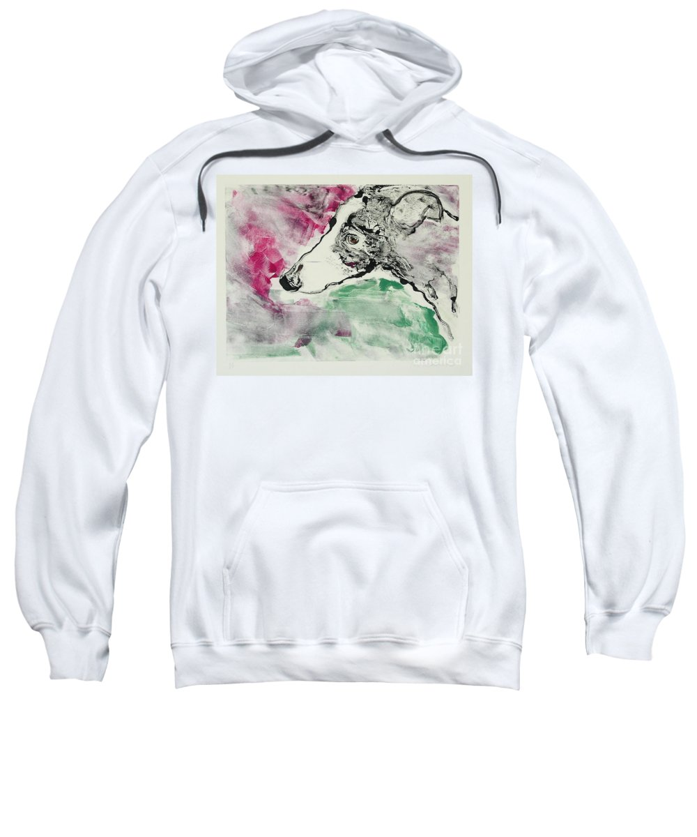 Greyhound Sweatshirt featuring the painting Cyrus by Cori Solomon