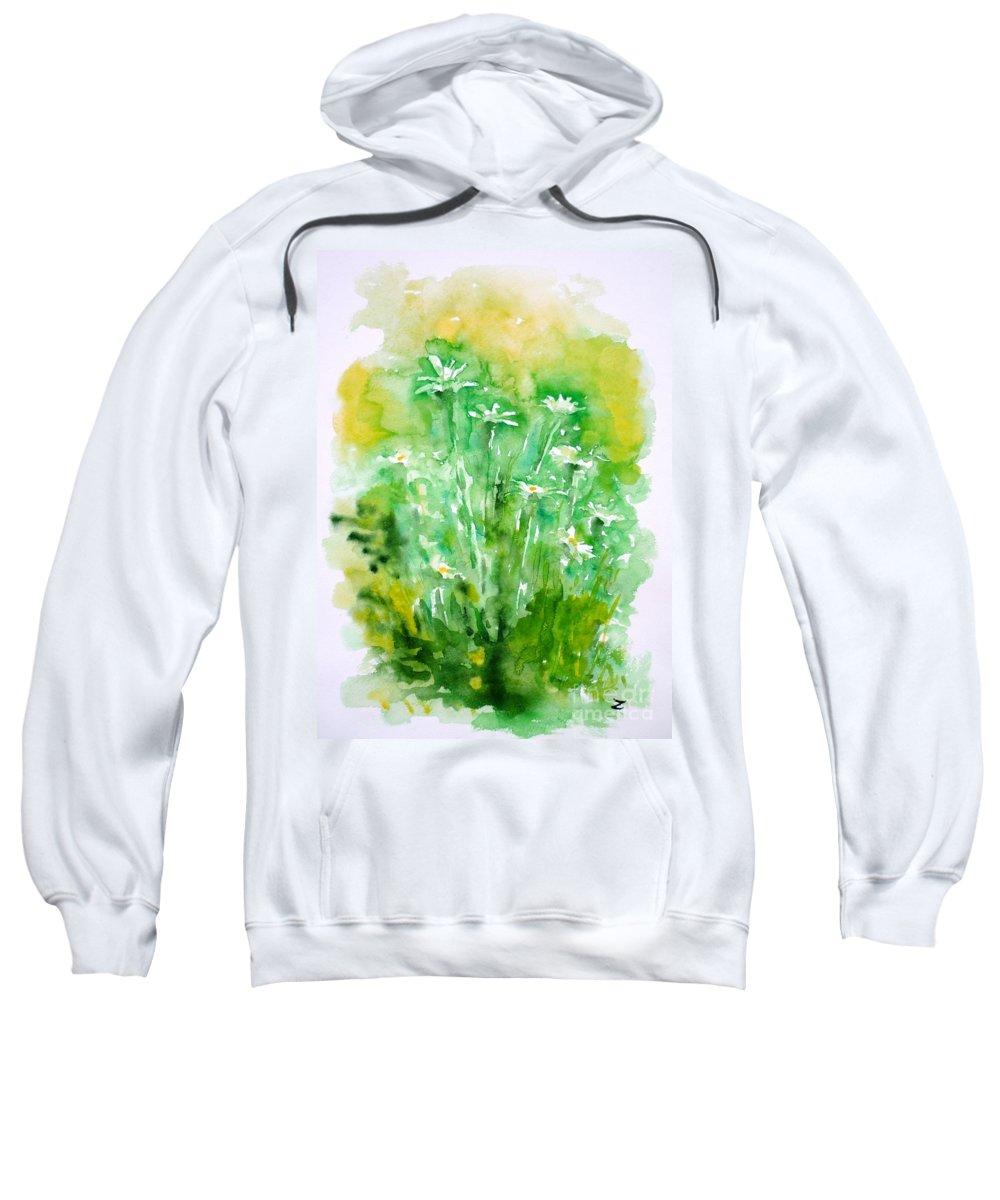 Daisies Sweatshirt featuring the painting Daisies by Zaira Dzhaubaeva