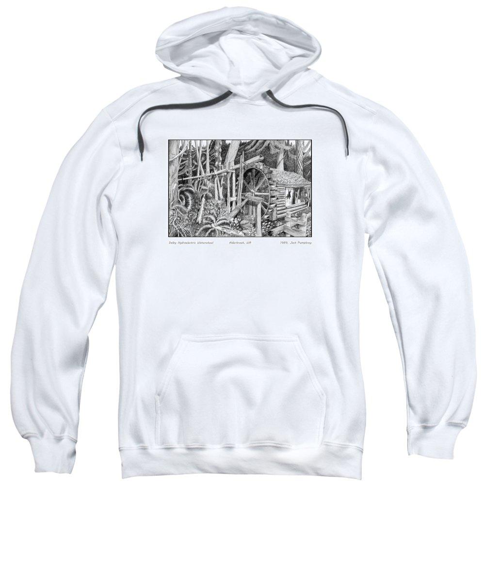 Hydroelectric Power Plants Sweatshirt featuring the drawing Water Wheel Alderbrook Hood Canal W A by Jack Pumphrey