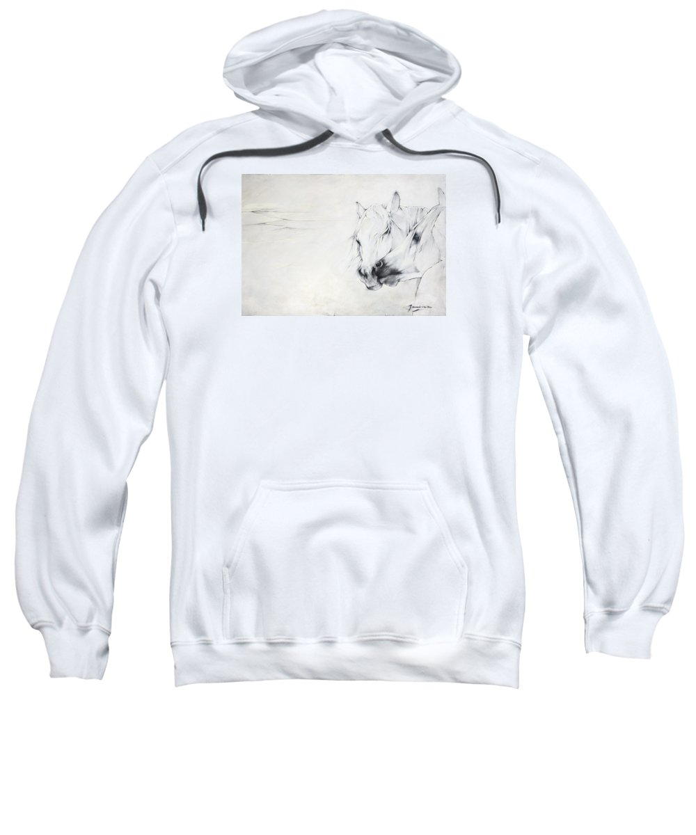 Horse Sweatshirt featuring the painting Dance With Me Lady by Janina Pazdan