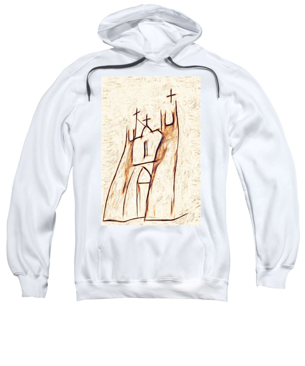 Church Sweatshirt featuring the photograph Day In Taos by Terry Fiala