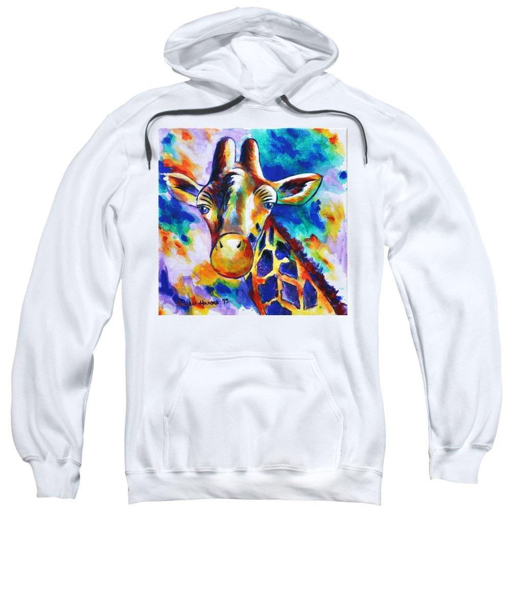 Giraffe Sweatshirt featuring the painting Delilah by Heather Hancock