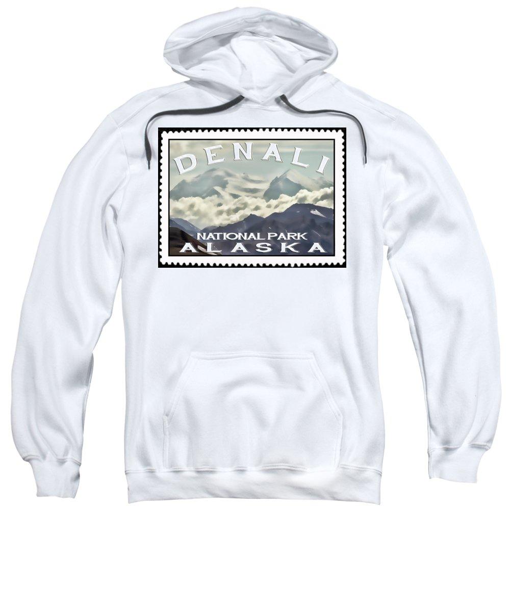 Denali Sweatshirt featuring the photograph Denali Postage Stamp by Heather Applegate