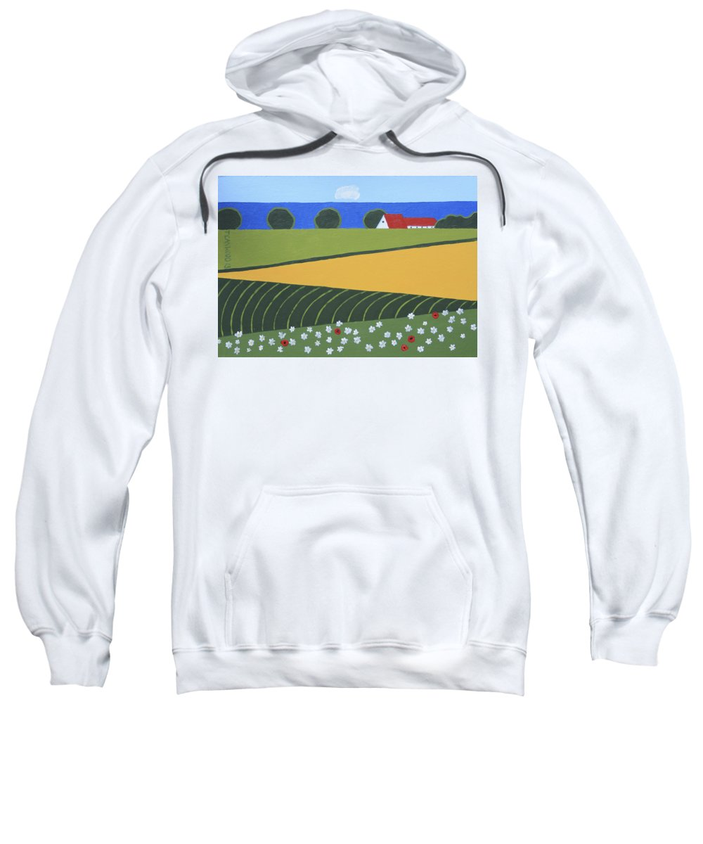 Landscape Sweatshirt featuring the painting Denmark 5 by Trudie Canwood