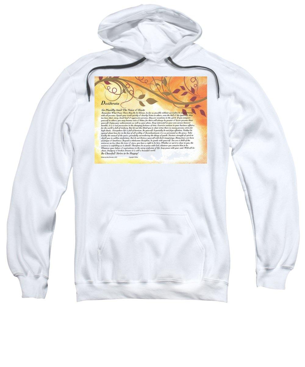 Desiderata Sweatshirt featuring the mixed media Desiderata On Golden Leaves by Desiderata Gallery