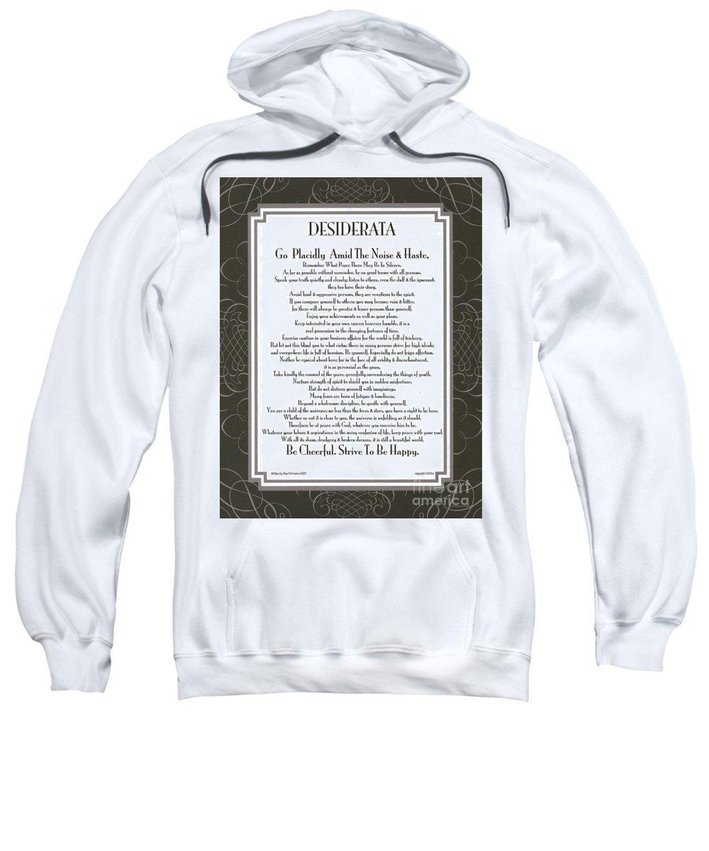 Desiderata Sweatshirt featuring the mixed media Desiderata Squared Swirls by Desiderata Gallery