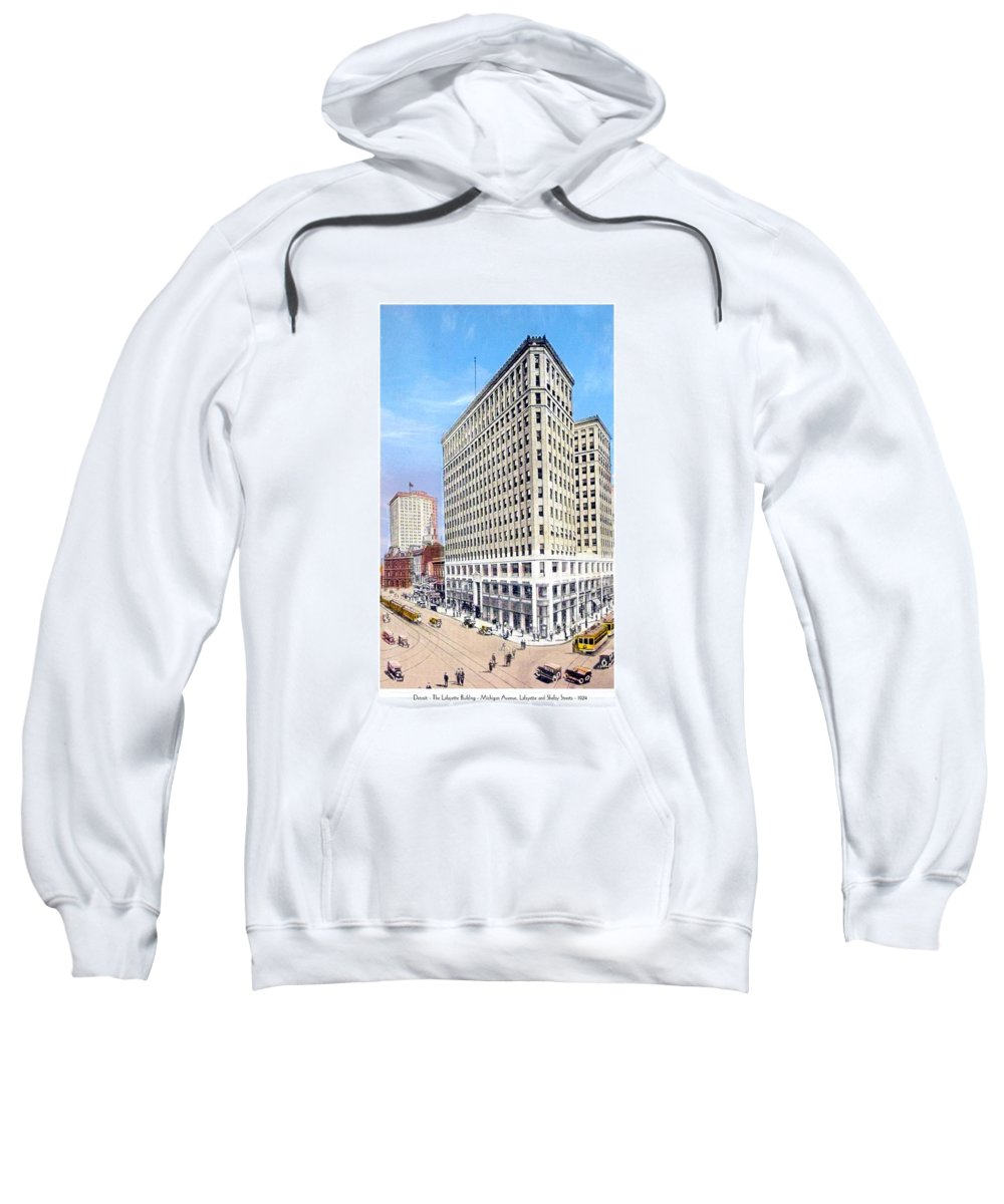 Detroit Sweatshirt featuring the digital art Detroit - The Lafayette Building - Michigan Avenue Lafayette And Shelby Streets - 1924 by John Madison