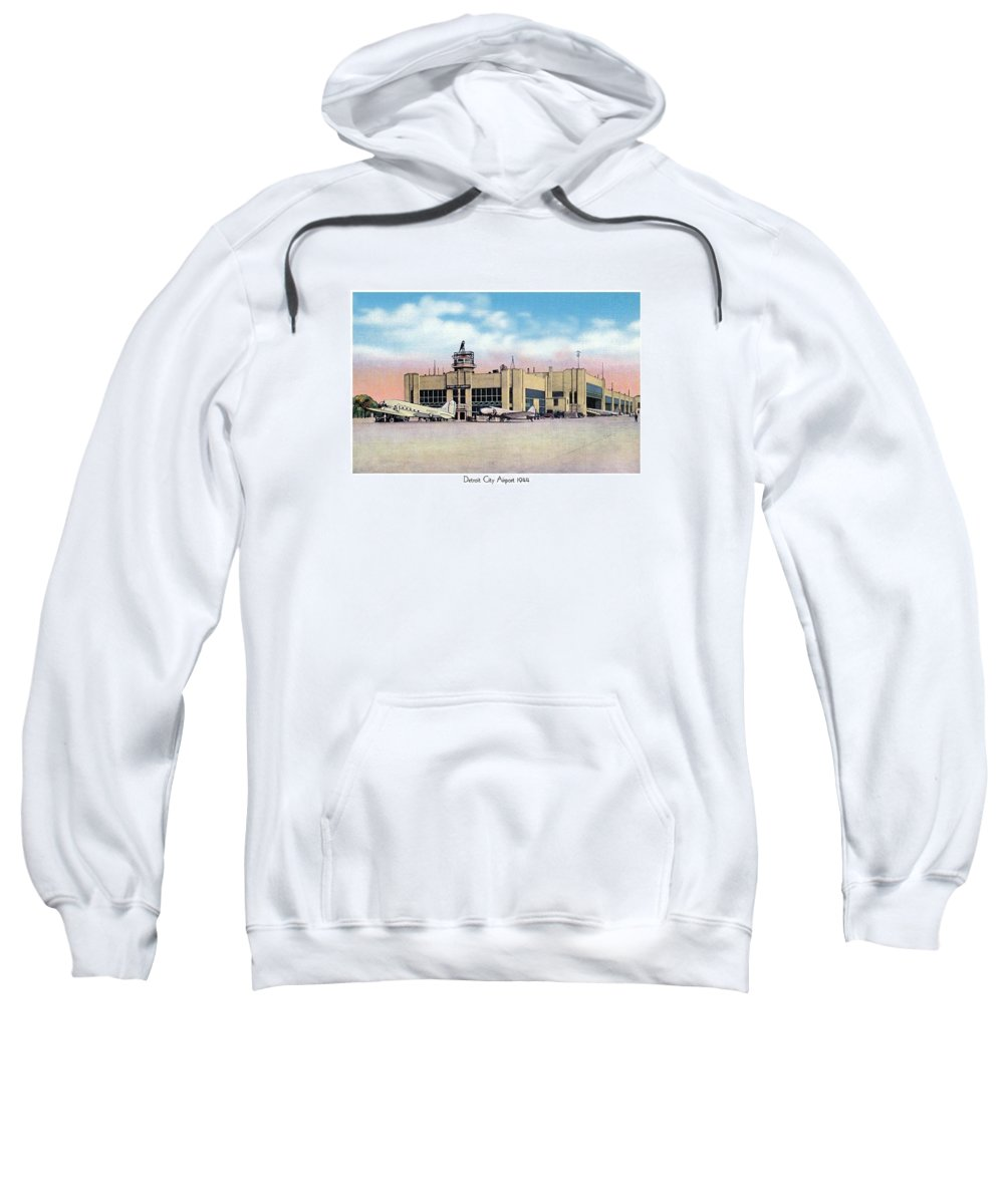 Sweatshirt featuring the digital art Detroit - City Airport - 1944 by John Madison
