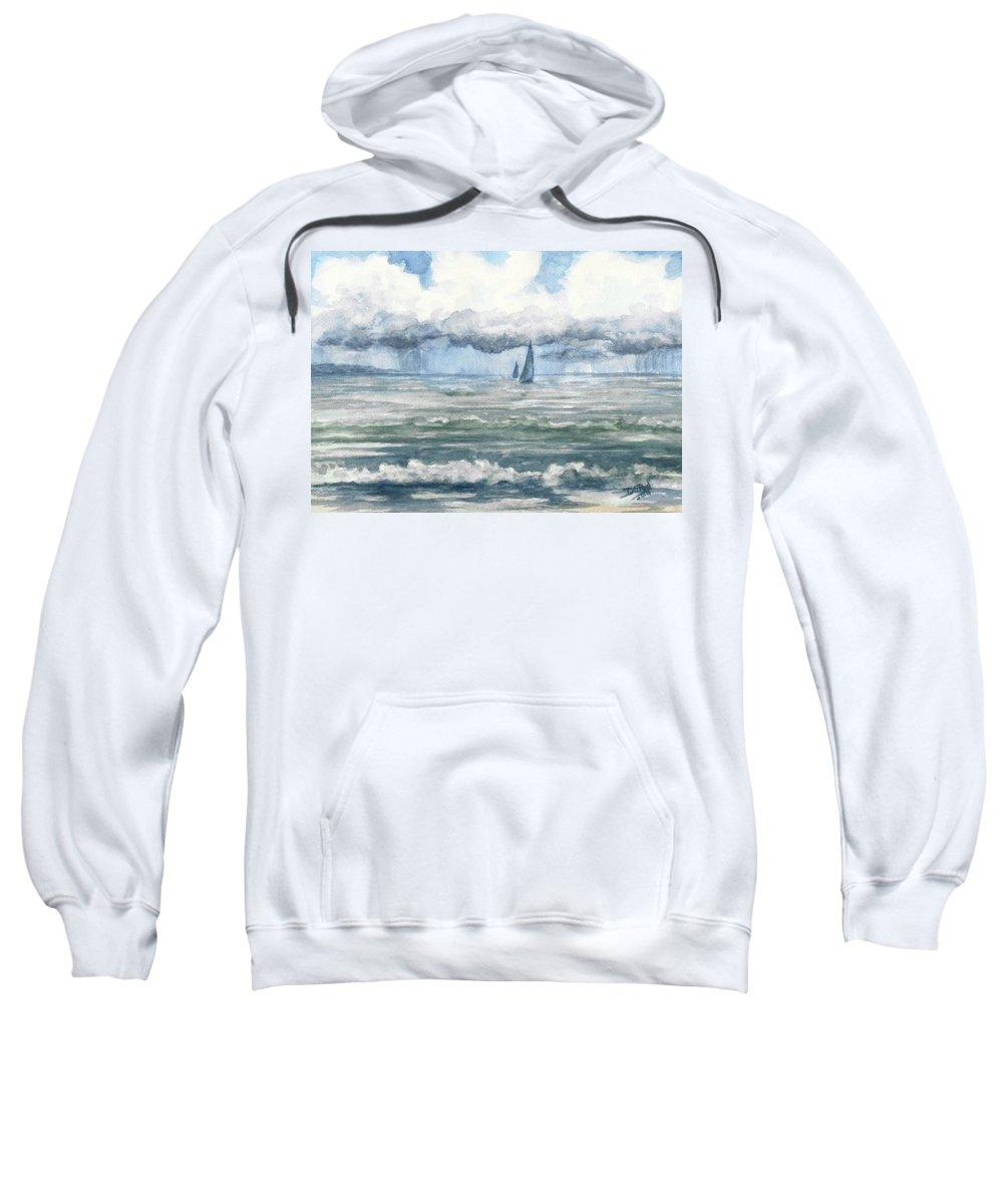 Sea Sweatshirt featuring the painting Distant Rain by David G Paul
