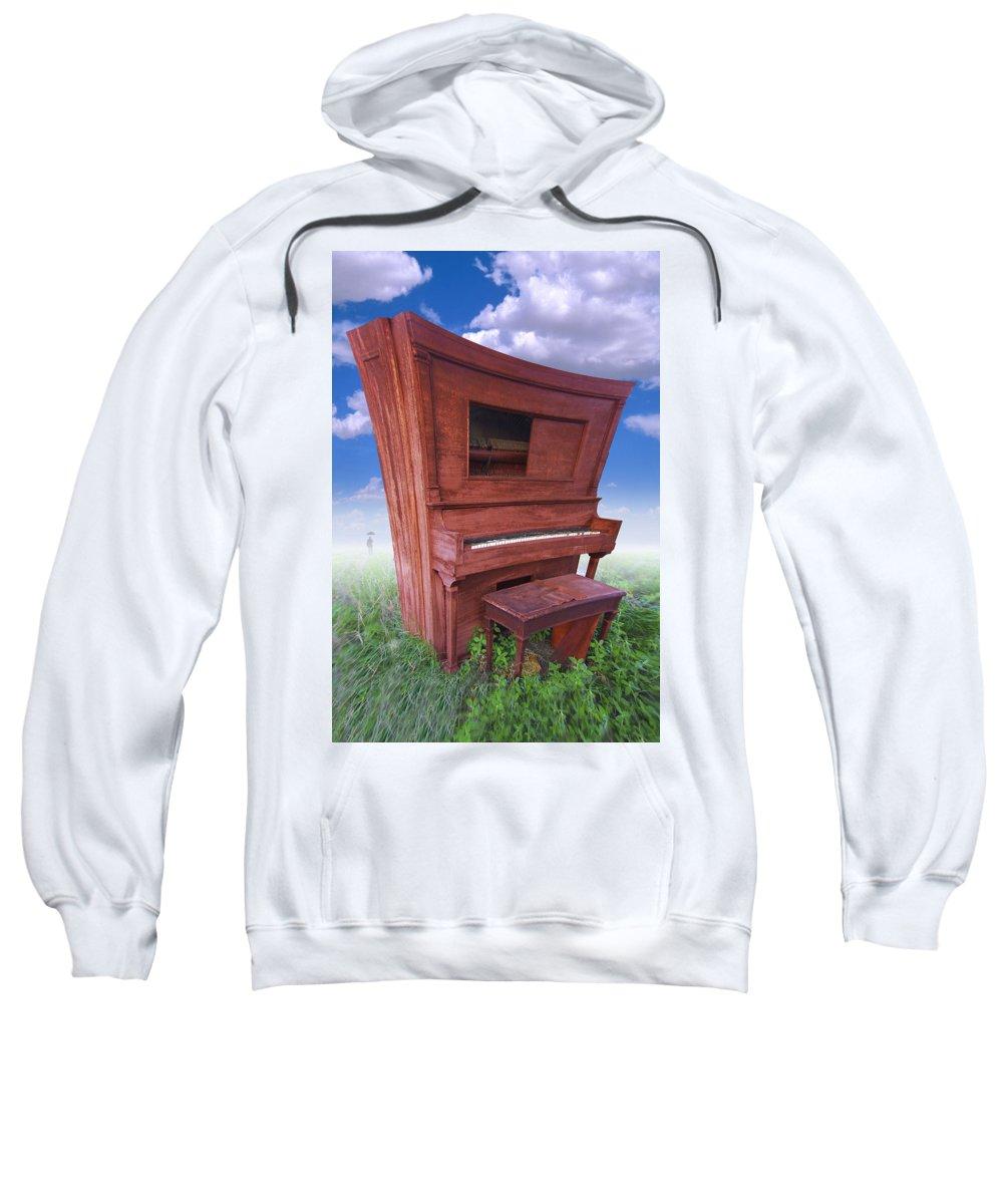 Distorted Upright Piano Sweatshirt featuring the photograph Distorted Upright Piano by Mike McGlothlen