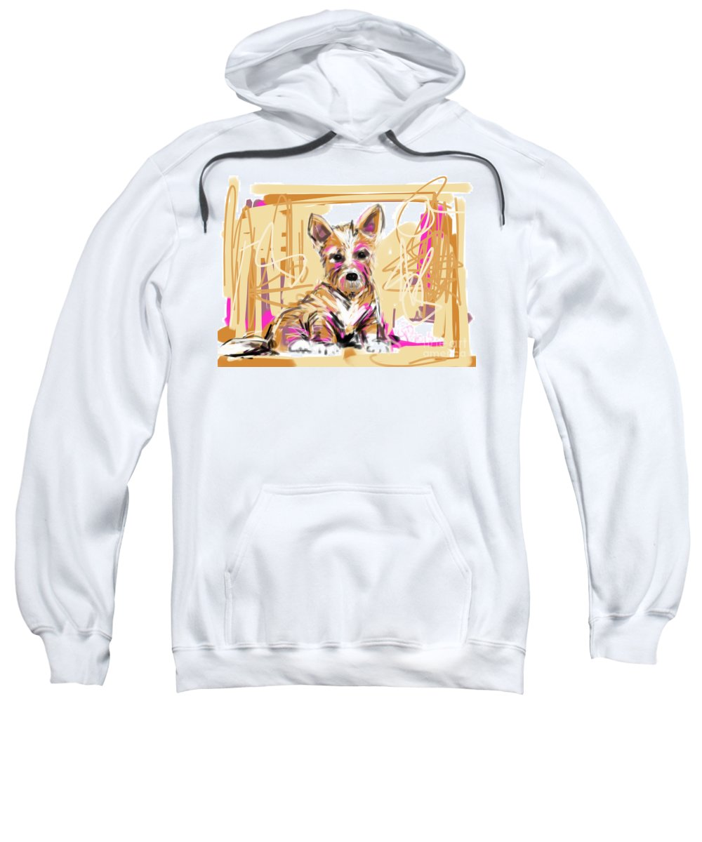 Pet Sweatshirt featuring the painting dog I did not make this mess by Go Van Kampen