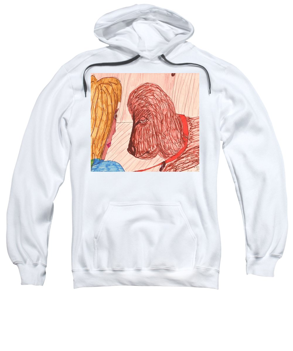 Dog Being Trained Sweatshirt featuring the mixed media Dog Training Class by Elinor Helen Rakowski