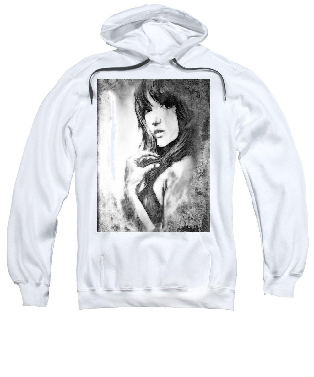 Woman Sweatshirt featuring the drawing Don't Lie To Me by Joachim G Pinkawa