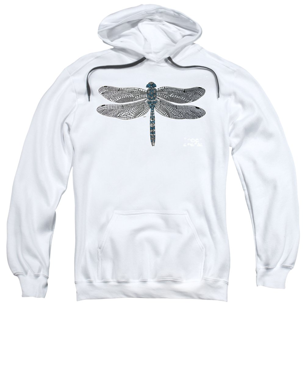 Insect Sweatshirt featuring the drawing Dragonfly by Leanne Karlstrom