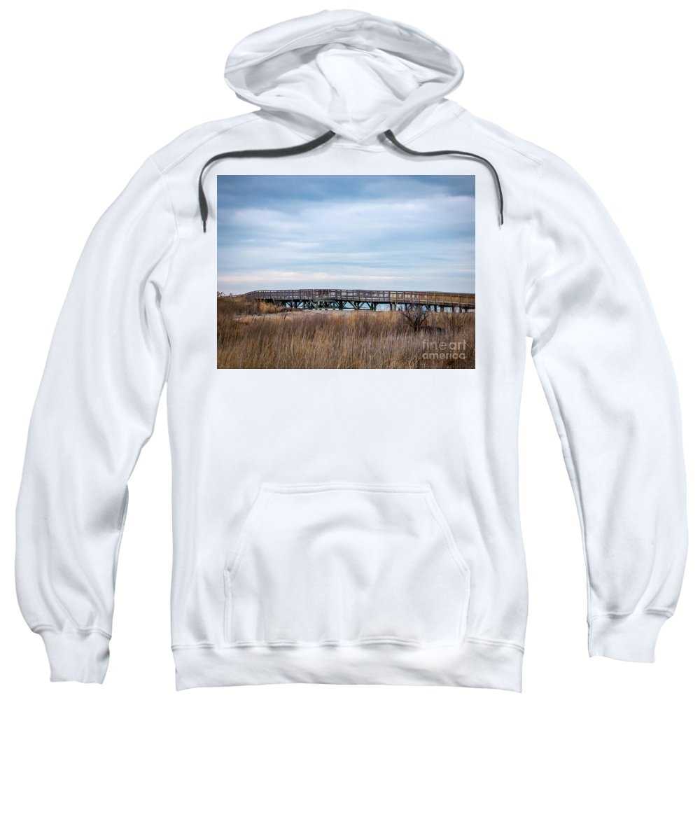 New England Sweatshirt featuring the photograph Dramatic Boardwalk by DAC Photography