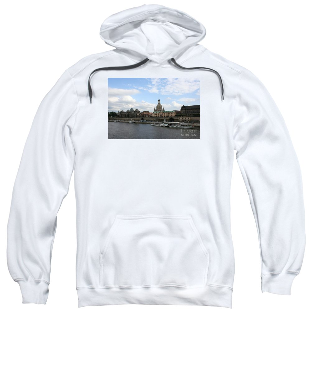 City Sweatshirt featuring the photograph Dresden And River Elbe - Germany by Christiane Schulze Art And Photography