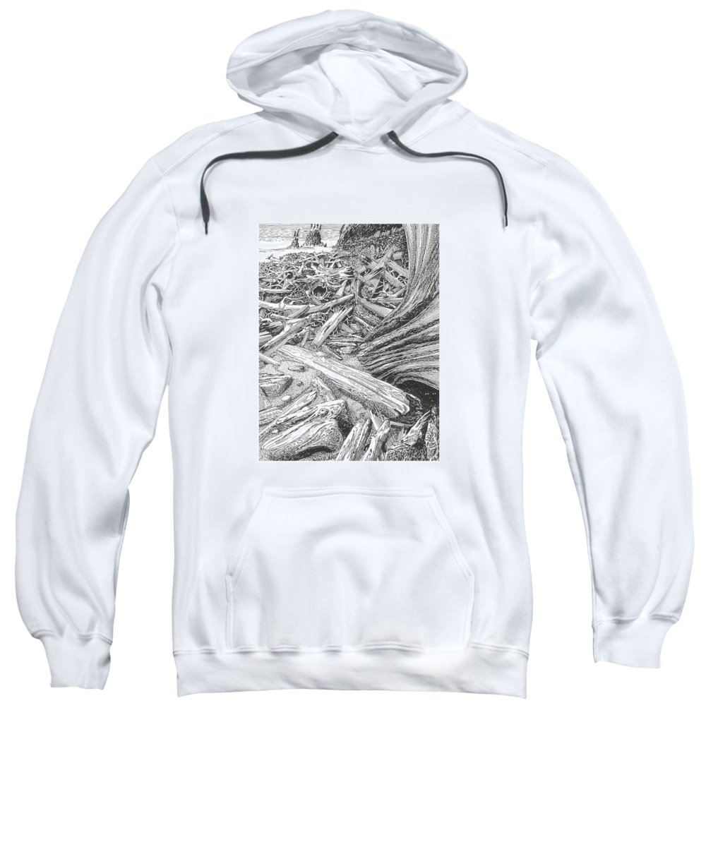 Find The Critter? Sweatshirt featuring the drawing Critter In The Driftwood by Jack Pumphrey
