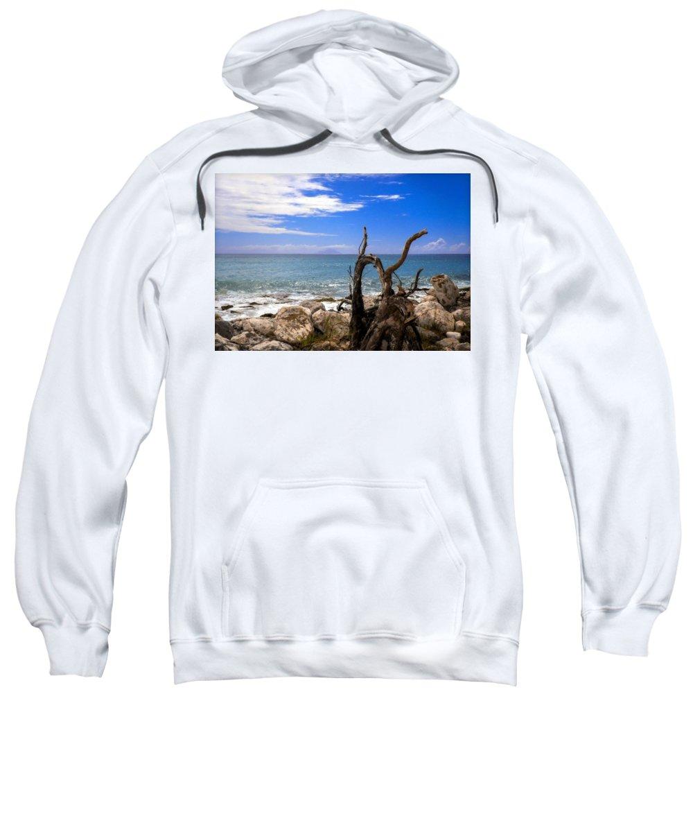 Driftwood Sweatshirt featuring the photograph Driftwood Island by Karen Wiles
