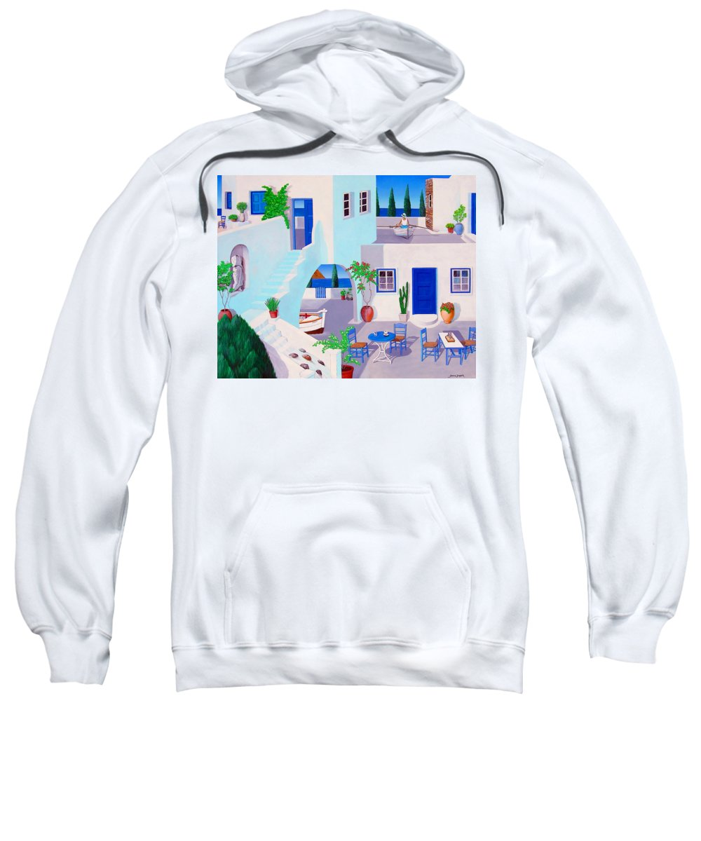 This Is My Esher Inspired Greek Painting I Did For Mykanos Sweatshirt featuring the painting Dual Horizons by Snake Jagger
