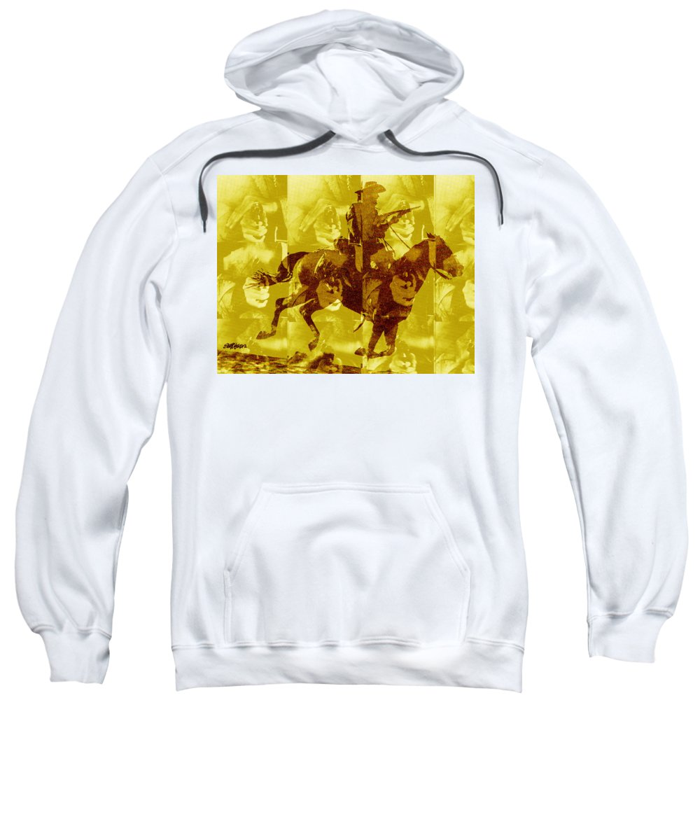 Clint Eastwood Sweatshirt featuring the digital art Duel In The Saddle 1 by Seth Weaver