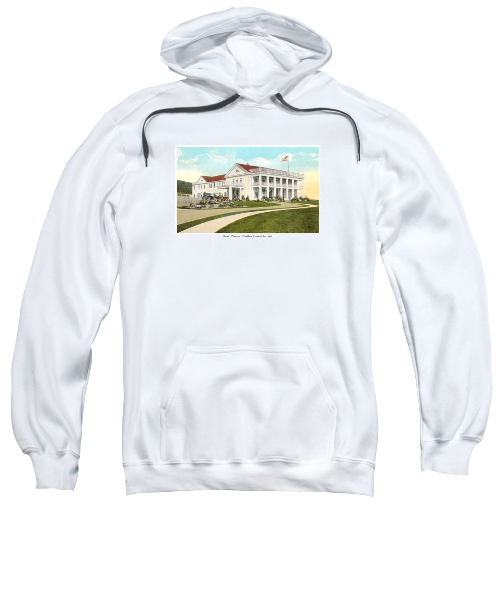 Northland Country Club Sweatshirt featuring the digital art Duluth Minnesota - Northland Country Club - 1915 by John Madison